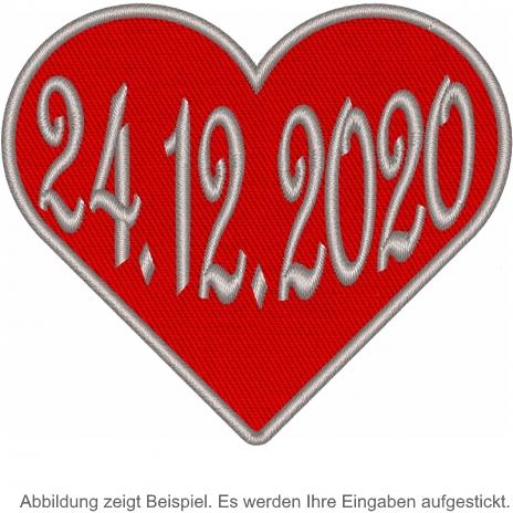 Herz in Rot mit ihren Datum