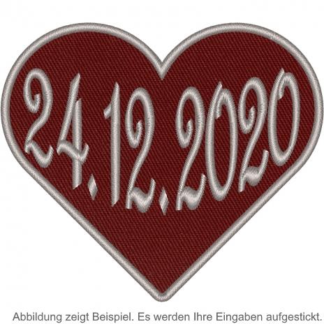 Herz in Weinrot mit ihren Datum