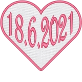 Herz in Weiß mit Ihren Datum